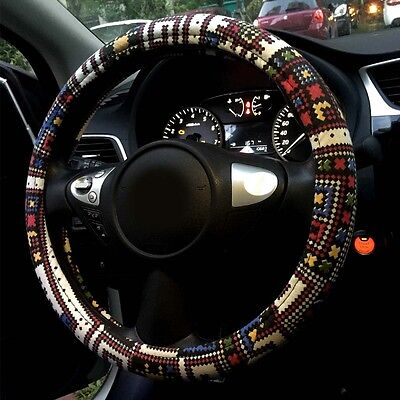 """Automotive Ethnic Flax Cloth Universal Car Steering Wheel Cover 15"""" Mix Color"""