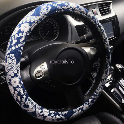 Automotive Ethnic Flax Cloth Cute Elephant Universal Car Steering Wheel Cover