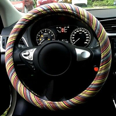 Automotive 3D Stripe Ethnic Flax Cloth Universal Car Steering Wheel Cover 15""