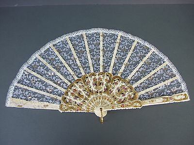 """Vintage Hand Held Spanish Lace Fabric Fan 17"""" Spain  Gold Tone Trim"""