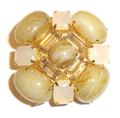 DIOR true VINTAGE auth. 1963 BROOCH - Faux yellow Sapphire & Moonstone Cabochons