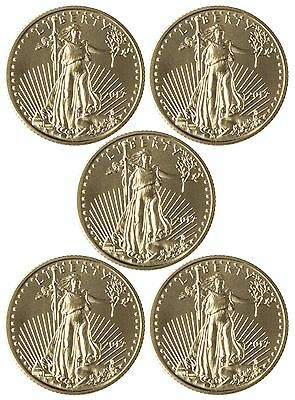 2017 $5 Gold American Eagle 1/10 oz. Brilliant Uncirculated - Lot of 5