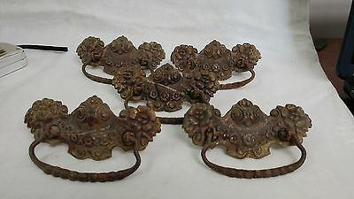 5 Antique Victorian Hardware Drawer Pulls with original screws, NICE, very fancy