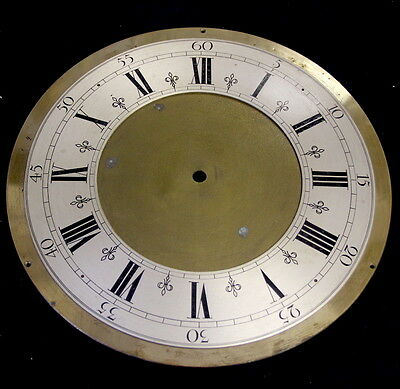 BRASS clock dial with silvered zone. Heavy.