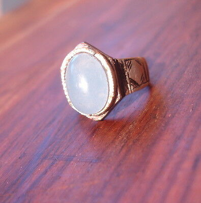 Men's Niger Tuareg light blue turquoise agate hand engraved ring