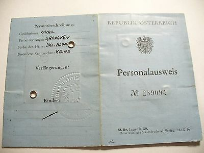 Vintage Identity Card 1958 Austria Young Boy Personalausweis