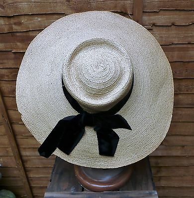Vintage 1950s French Wide Brim 'NEW LOOK' Picture Hat, Natural Straw w/ Ribbon