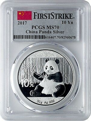 2017 10 Yuan China Silver Panda Coin 30 Grams .999 Silver PCGS MS70 First Strike