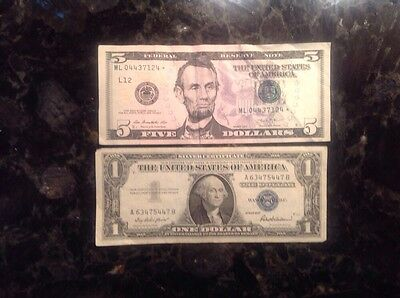 2013 $5 Federal Reserve Note - STAR NOTE  + 1957  $1 Silver Certificate