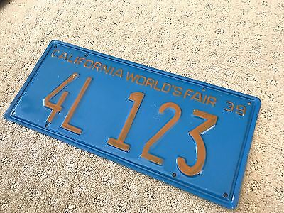 """World's Fair 1939 CALIFORNIA Novelty License Plate Metal Reproduction 4L123 14"""""""