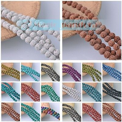 Hot 8mm Natural Volcanic Lava Rock Gemstone Loose Spacer Round Beads Dyed Color