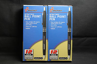 Skilcraft U.S. Government Retractable Ballpoint Pen Med Point, Black Ink 2 Boxes