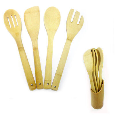 5 Pc Set Bamboo Wooden Kitchen Tools Cooking Utensil Spatula Spoon Fork Chef New