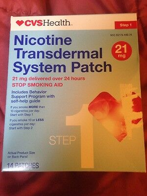 New Sealed Box Cvs Nicotine Transdermal System  21 Milligram  #14 Clear Patches