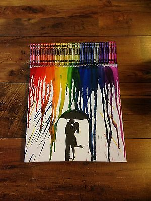 """Melted Crayon Picture 12x16"""" Canvas Wall Art Modern Crayola Unique Gift Wedding"""