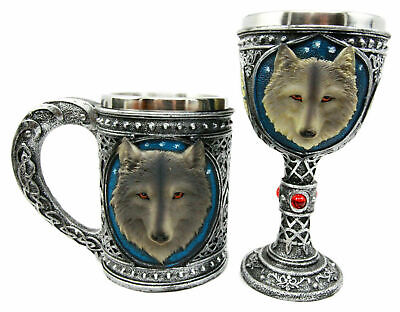 Large Celtic Blue Gray Wolf Mug & Wolf Wine Goblet Chalice Cup Set of 2 Pcs