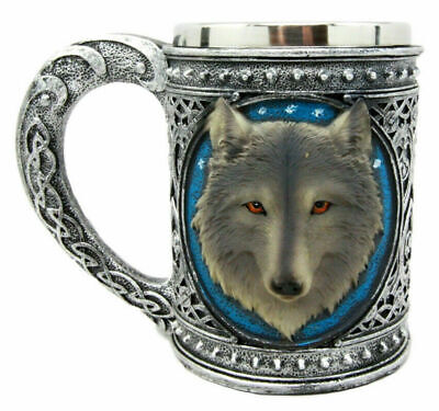 Large Celtic Blue Gray Wolf Mug Stainless Steel & Resin 18oz Coffee Cup Home