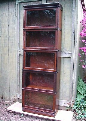 Antique Oak Stacking Barristers Bookcase in Rare ¾ Size  Good Original Condition