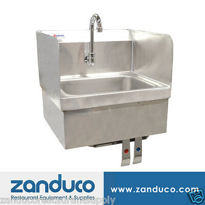 Omcan Hand Sink with Knee Valve, Faucet And Drain 37868