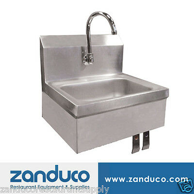 Omcan Hand Sink with Knee Valve, Faucet And Drain 22288