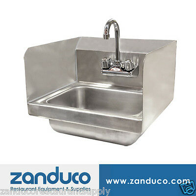 "Omcan Hand Sink - Wall Mounted With 2 Sides Splash & 4"" Faucet"