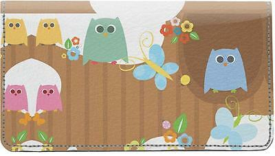 Cute Owls Leather Checkbook Cover