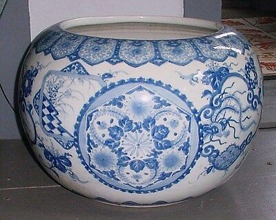 Large Vintage Blue & White Decorated Oriental Asian Victorian Garden Fish Bowl