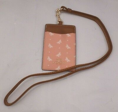 NWT COACH BUTTERFLY DOT BLUSH PINK, CHALK Lanyard ID Badge Card Holder 59788