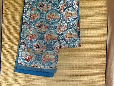 Beautiful Vintage Obi Tie Silver And Blue Floral