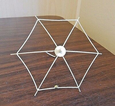 "Doll Umbrella/Parasol Frame, Ivory Painted Metal, Size Med 7"" dia., NOS"