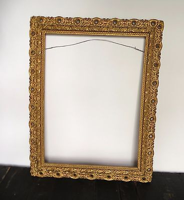 "Antique Gold Gesso Wood Picture Frame  14"" x 10 1/2"" Early Century"
