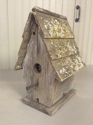 Vintage Handmade Painted Rustic Wood Birdhouse