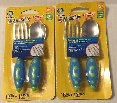 Gerber Graduates Safety Fork And Spoon Blue 2 Packs NIP