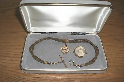 ANTIQUE VICTORIAN WOVEN HAIR MOURNING NECKLACE WITH LOCKET, WATCH FOB, 1800's