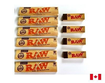 Raw Classic King Size Slim Rolling Papers 6 Booklets & 4 Raw Roach Tips Combo