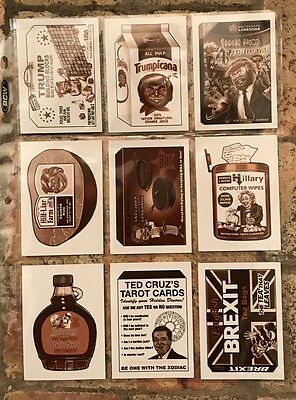 2017 50th Anniversary Wacky Packages Complete POLITICS SET 9/9 SEPIA TRUMP
