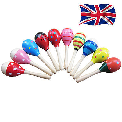 Baby Kids Sound Music Gift Toddler Rattle Musical Wooden Colorful Toys UK SALE