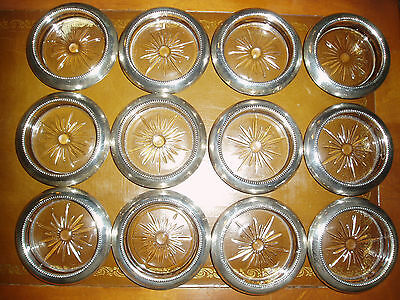 12 Vintage Frank M. Whiting & Co. Sterling Silver Pressed Glass Coasters