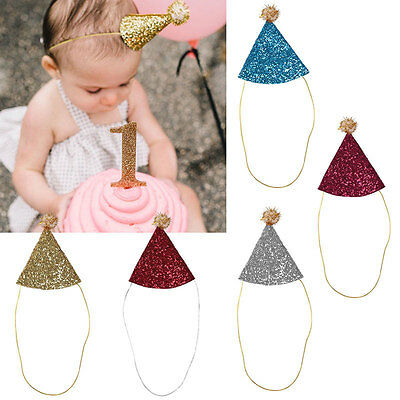 Baby Girls Boys Birthday Crown Hat Shimmer Paper Cone Cap Hairball Decoration UK