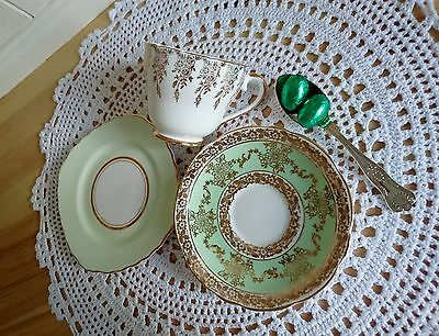 Green Vintage Mismatched Trio Cup Saucer Side Plate Colclough Gladstone Imperial