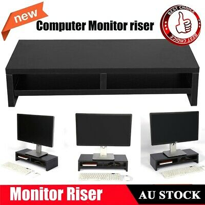 Desktop Monitor Mount Stand LCD TV Laptop Rack Computer Screen Riser Shelf BLACK