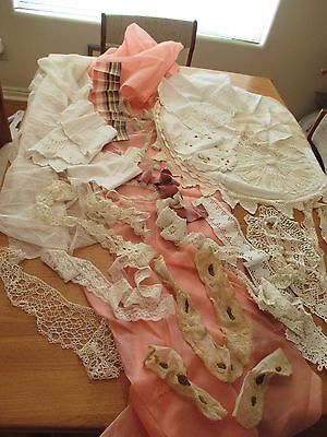 Huge Lot ANTIQUE LACE Trim COLLAR CUFF Fabric Crochet EMBROIDERED Vtg TEXTILES