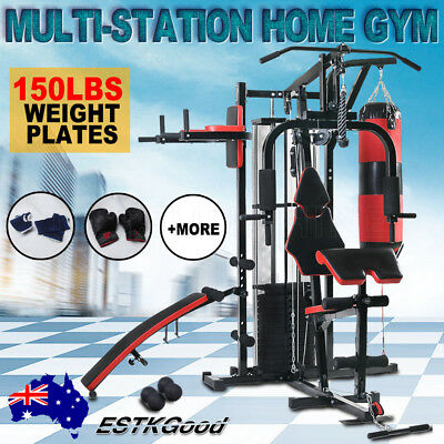 Multi Station Home Gym Exercise Equipment Bench Press Boxing Punching Dumbbells