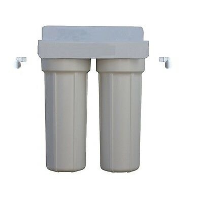 "Basic 10"" x 2.5"" Twin UnderSink Water Filter System & Connectors 