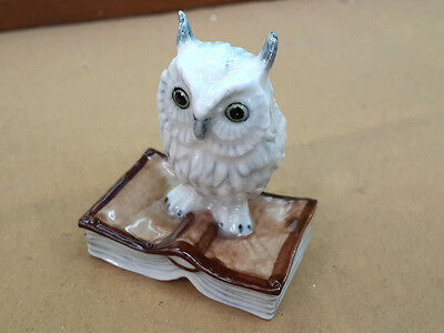 Craft Miniature Collectible Ceramic White Owl on Book Animal Figurine Bird