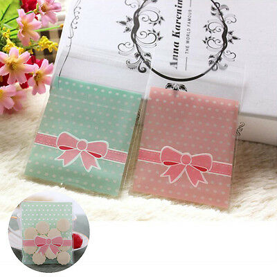 100 Pcs Cake Gift Packages Package Bag Lovely Pink Bow Design Candy Paper Pack