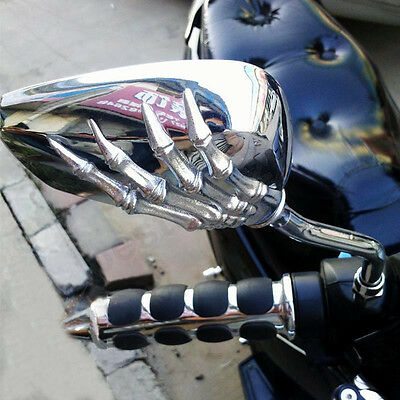 8Mm 10Mm Motorcycle Mirrors Rear View Skull Skeleton For Chopper Bobber Scooter