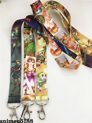 The Legend of Zelda Link Neck Strap Lanyard Mobile Keys ID Keychain New Gift
