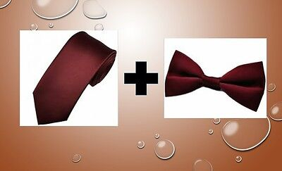 Burgundy satin tie AND bow tie for kids toddler baby FAST SHIPPING!