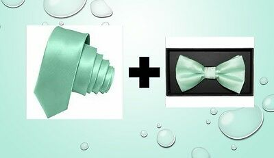 Mint Green satin tie AND bow tie for kids toddler baby FAST SHIPPING!